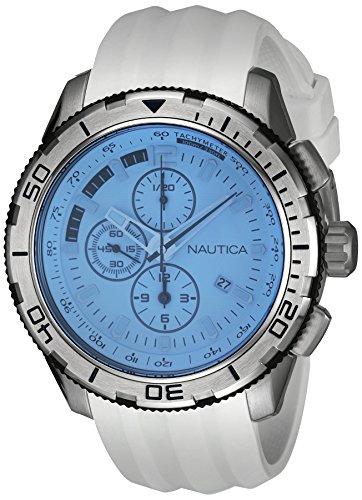 Nautica NAI19520G Herren Armbanduhr chronograph Silikon Weiss