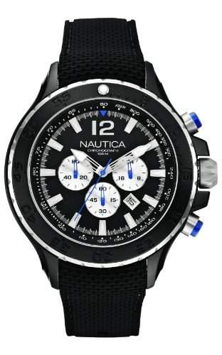 Nautica Herren-Armbanduhr XL Chronograph Quarz Silikon A22625G