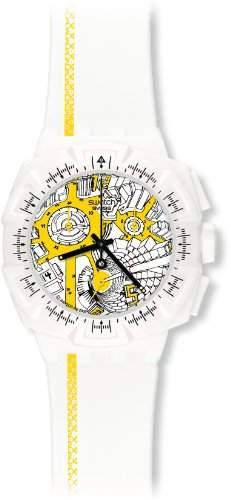 Swatch Damen-Armbanduhr Chrono Plastik 2 Street Map Yellow SUIW410