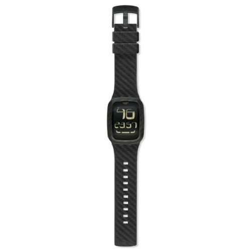 Swatch Unisex-Armbanduhr Classic Carbon Fever Digital Quarz Leder SURB110