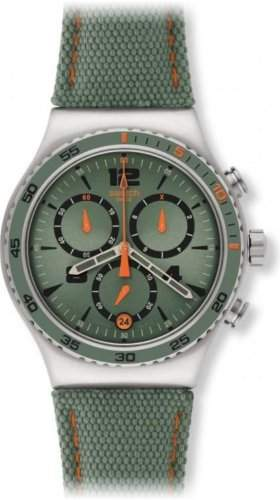 Swatch Herren-Armbanduhr XL New Irony Chrono Lheure Du Marais Chronograph Quarz Textil YVS402