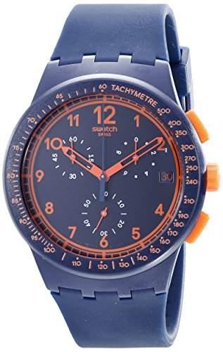 Swatch Unisex-Armbanduhr Classic Rebirth Blue Chronograph Quarz Silikon SUSN401