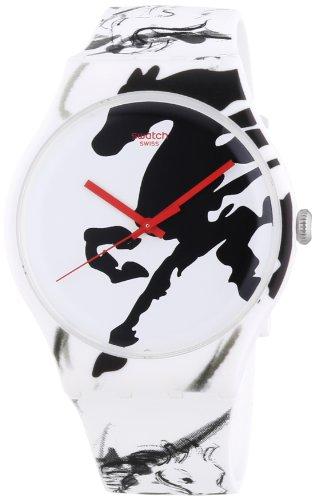 Swatch Unisex Armbanduhr Chinese New Year 2014 Year Of The Horse Analog Quarz Silikon SUOZ169