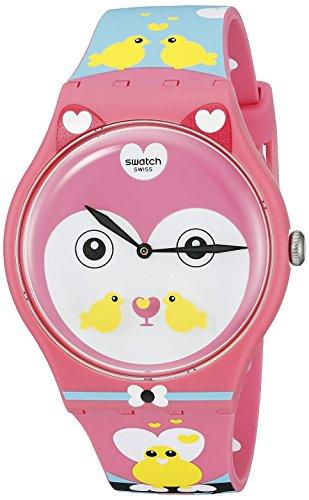 Swatch Damen Armbanduhr Analog Quarz Silikon SUOZ190