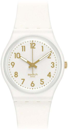 Swatch GW164 34mm Plastic Case White Rubber Mineral Womens Watch