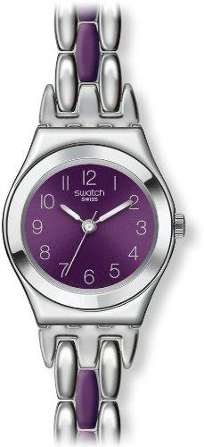 Swatch Damen Armbanduhr XS Irony Lady Plummy Purple Analog Quarz verschiedene Materialien YSS275G