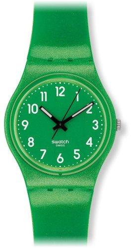 Swatch Unisex Armbanduhr Metalized FLAKY GREEN Analog Silikon GG212