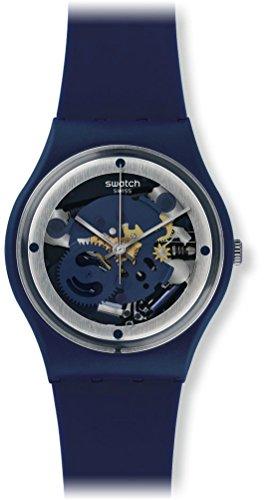 Swatch Unisex 34mm Blue Silicone Band Plastic Case Swiss Quartz Analog Watch GN245