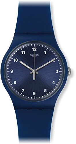 Swatch Unisex 43mm Blue Silicone Band Plastic Case Swiss Quartz Analog Watch SUON116