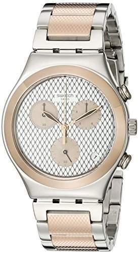 Swatch Damen-Armbanduhr Chronograph Quarz Edelstahl YCS581G