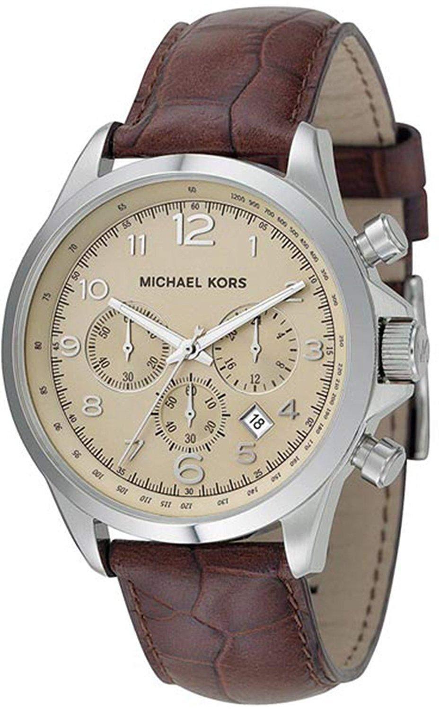 Michael Kors Herren-Armbanduhr XL Chronograph Quarz Leder MK8115