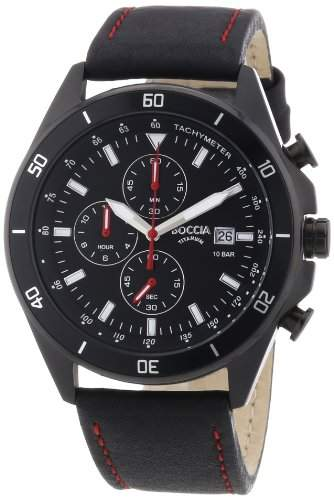 Boccia Herren-Armbanduhr XL Chronograph Quarz Leder 3762-04