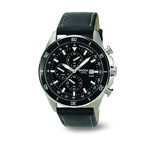 Boccia Herren-Armbanduhr XL Chronograph Quarz Leder 3762-06
