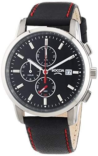 Boccia Herren-Armbanduhr XL Titanium Chronograph Quarz Leder 3763-01