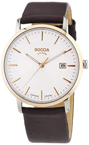 Boccia Herren-Armbanduhr XL Analog Quarz Leder 3557-04