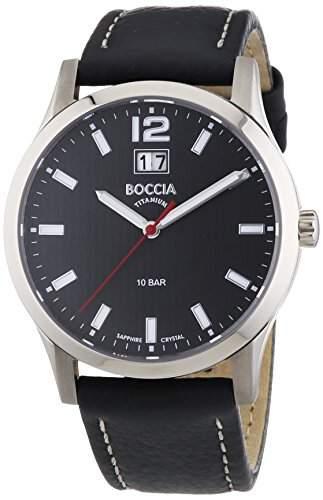 Boccia Herren-Armbanduhr XL Titanium Analog Quarz Leder 3580-01