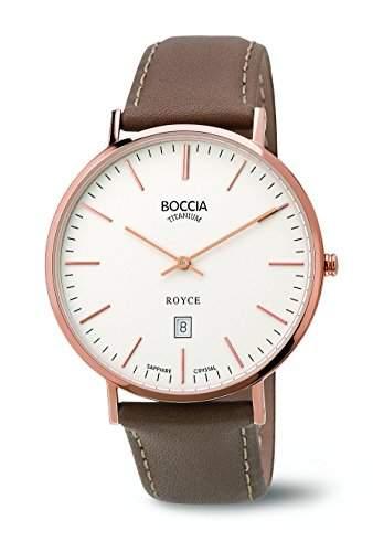 Boccia Herren-Armbanduhr Analog Quarz Leder 3589-04