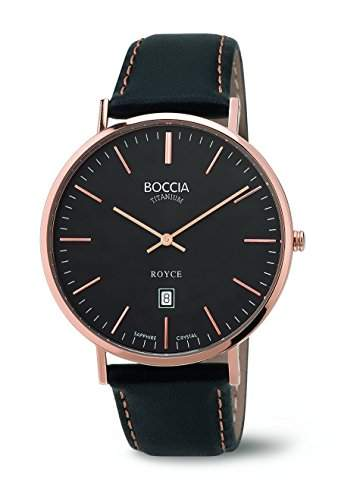 Boccia Herren-Armbanduhr Analog Quarz Leder 3589-05