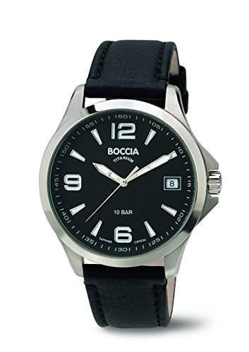 Boccia Herren-Armbanduhr Analog Quarz Leder 3591-01