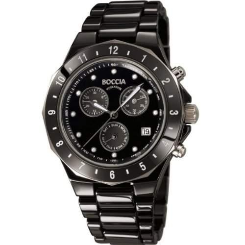 Boccia Unisex-Armbanduhr Chronograph Keramik schwarz B3768-02