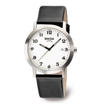 Boccia Herren Silber Quarz Uhr mit 38 mm Titan Fall und Lederband 3544 01