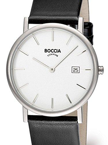 Boccia duenn Herren Silber Quarz Uhr mit 37 mm Titan Fall und Lederband 3547 02