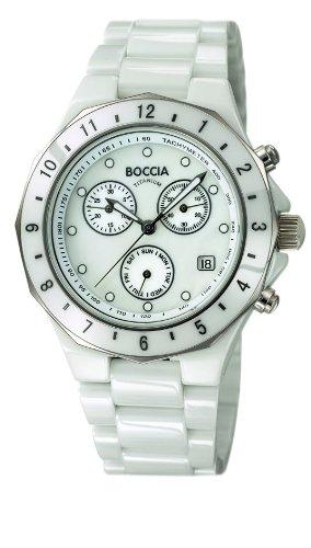 Boccia Unisex Armbanduhr Chronograph Keramik weiss B3768 01
