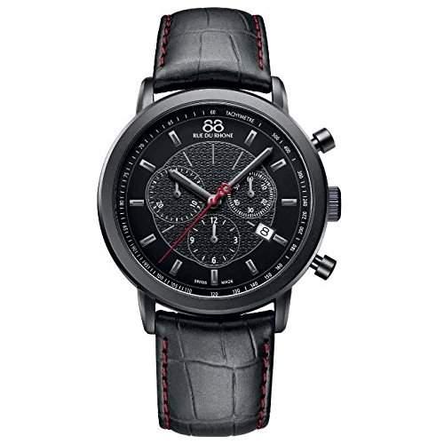 88 Rue Du Rhone Double 8 Origin Mens Black Leather Chronograph Watch 87WA120046