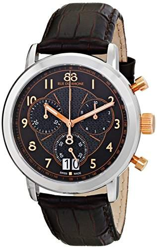 88 Rue Du Rhone Mens Black Leather Chronograph Date Tachymeter Watch 87WA130024