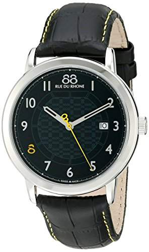 88 Rue Du Rhone Double 8 Origin Mens Black Leather Date Watch 87WA140020