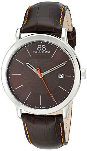88 Rue Du Rhone Double 8 Origin Mens Brown Leather Date Watch 87WA140022
