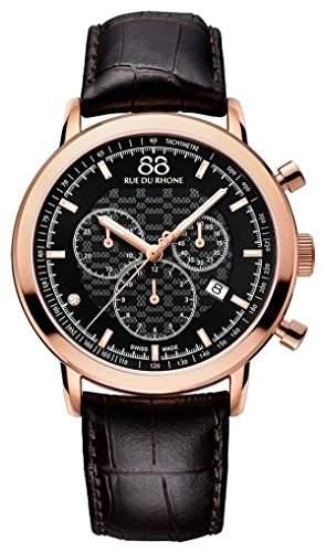 88 Rue Du Rhone Double & Origin Mens Brown Leather Chronograph Watch 87WA154207