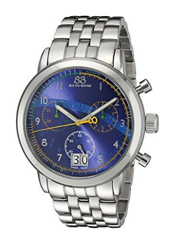 88 Rue Du Rhone Herren 87 wa140033 Edelstahl Armband Uhr mit Blau Zifferblatt