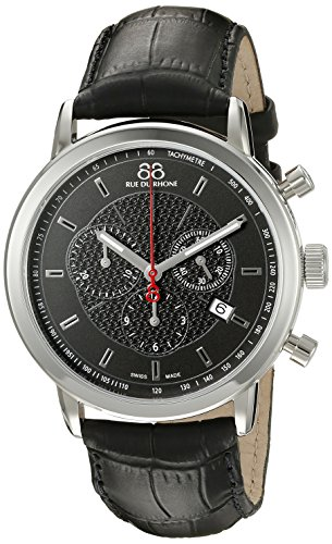 88 Rue Du Rhone Mens Black Leather Chronograph Date Watch 87WA120048