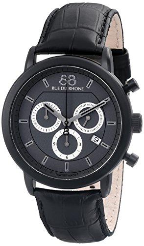 88 Rue Du Rhone Mens Black Leather Chronograph Date Watch 87WA130017