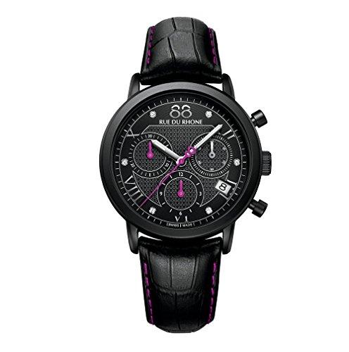 88 Rue Du Rhone Ladies Black Leather Chronograph Diamond Set Watch 87WA130027