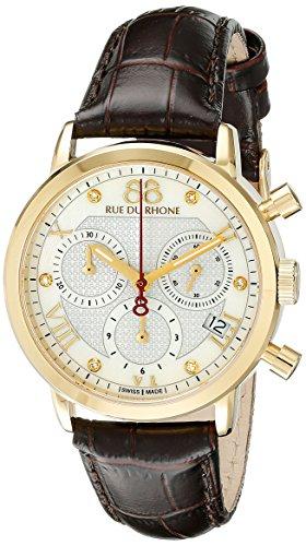 88 Rue Du Rhone Ladies Black Leather Chronograph Diamond Set Watch 87WA130028