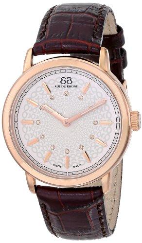 88 Rue Du Rhone Ladies Black Leather Diamond Set Watch 87WA120015