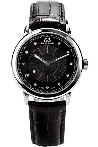 88 Rue Du Rhone Ladies Black Leather Diamond Set Watch 87WA120020