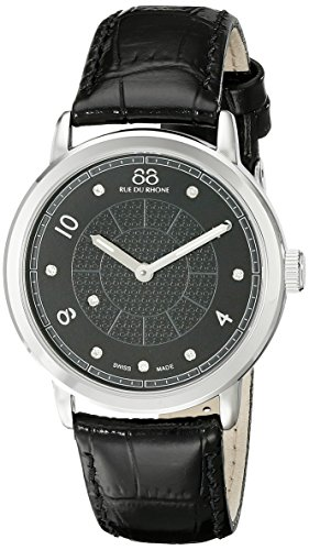 88 Rue Du Rhone Ladies Black Leather Diamond Set Watch 87WA120021