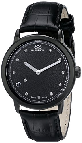 88 Rue Du Rhone Ladies Black Leather Diamond Set Watch 87WA120022