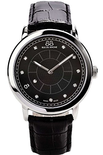 88 Rue Du Rhone Mens Black Leather Diamond Set Watch 87WA120026