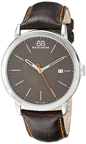 88 Rue Du Rhone Mens Black Leather Date Watch 87WA120035