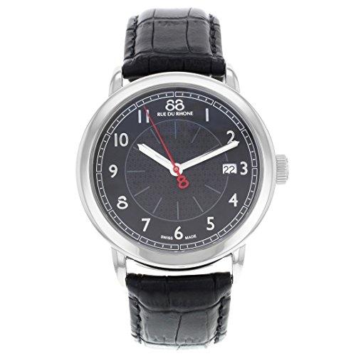 88 Rue Du Rhone Mens Black Leather Date Watch 87WA120039