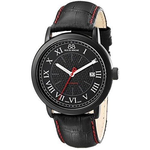 88 Rue Du Rhone Double 8 Origin Mens Black Leather Date Watch 87WA120041