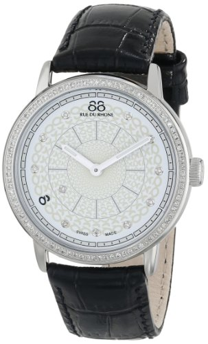 88 Rue Du Rhone Ladies Black Leather Diamond Set Watch 87WA120061