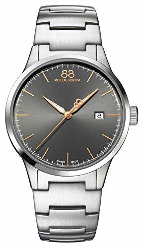 88 Rue Du Rhone Rive Mens Silver Stainless Steel Date Watch 87WA154108