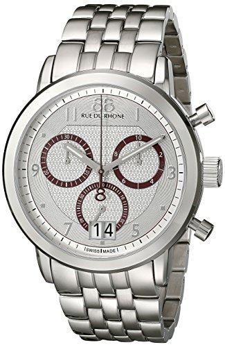 88 Rue Du Rhone Herren Double 8 Origin 46 mm Stahl Armband und Fall Quarz silberfarbenes Zifferblatt Armbanduhr 87 wa130036