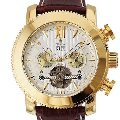 Gute Luxus Herren Automatik Mechanische Armbanduhr Golden Weiss Decor Tourbillon gearbrown Gurt