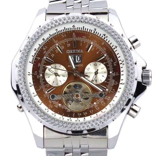 Orkina Chronograph Edelstahl mechanisches Uhrwerk KC082SSB silberfarbenes Gehaeuse